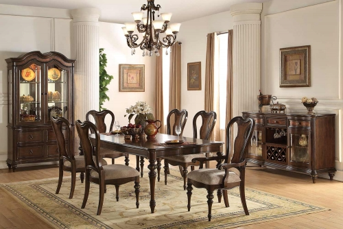 Azis Dining Set - Dark Walnut