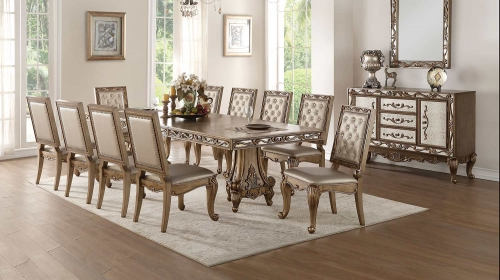 Orianne Dining Set with Double Pedestal - Antique Gold