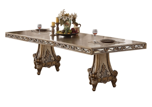 Orianne Dining Table with Double Pedestal - Antique Gold