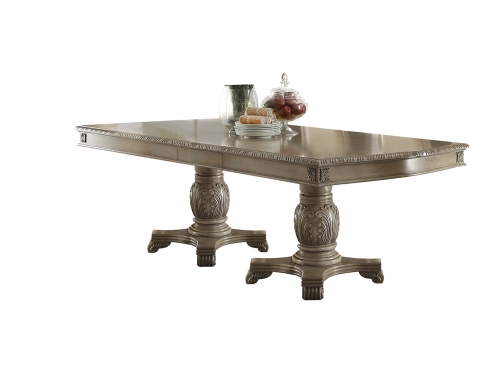 Acme Chateau de Ville Dining Table with Double Pedestal - Antique White
