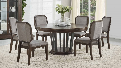 Selma Round Dining Set with Single Pedestal - Tobacco
