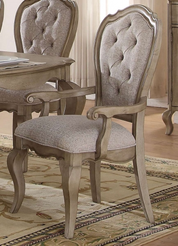 Acme Chelmsford Arm Chair - Beige Fabric/Antique Taupe