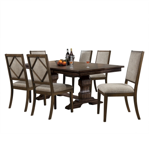 Aurodoti Dining Set with Double Pedestal - Oak