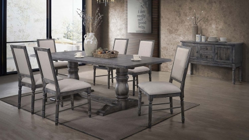 Leventis Dining Set (Trestle) - Weathered Gray