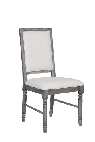 Leventis Side Chair - Cream LinenWeathered Gray
