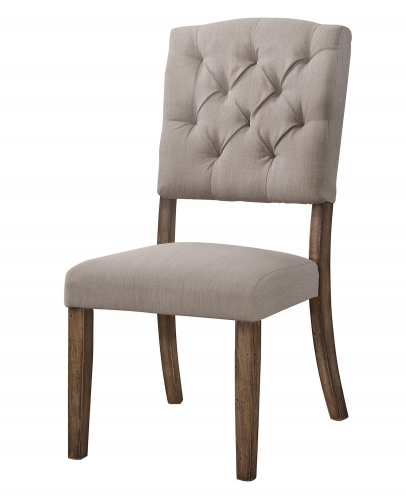 Bernard Side Chair - Cream Linen/Weathered Oak
