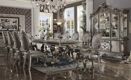 Acme Versailles Dining Set (120L Table) - Antique Platinum