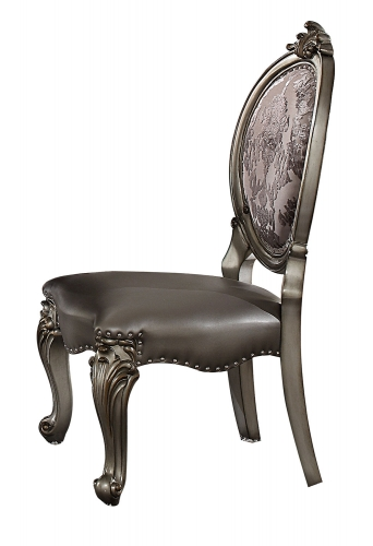 Acme Versailles Side Chair - Silver Vinyl/Antique Platinum