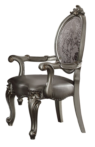 Acme Versailles Arm Chair - Silver Vinyl/Antique Platinum