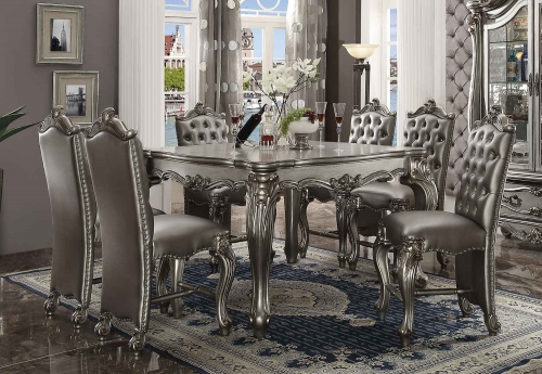 Versailles Counter Height Dining Set - Antique Platinum