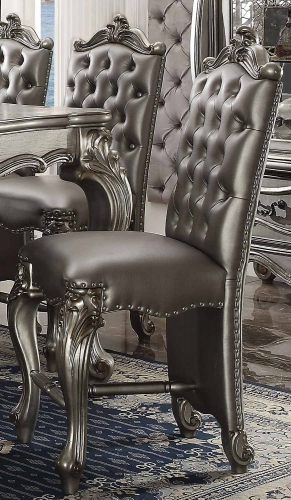 Acme Versailles Counter Height Chair - Silver Vinyl/Antique Platinum