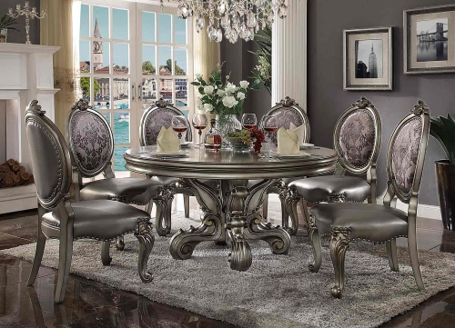 Acme Versailles Dining Set (Round Pedestal) - Antique Platinum