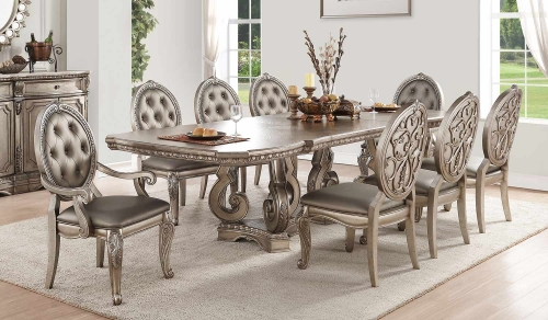 Northville Dining Set with Double Pedestal - Antique Champagne
