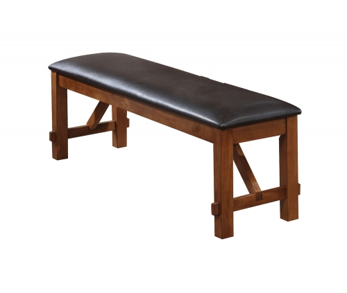 Apollo Bench - Espresso Vinyl/Walnut