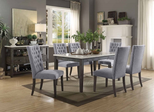 Merel Dining Set - White Marble/Gray Oak