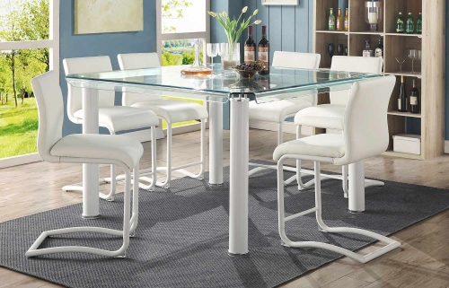 Gordie C Metal Shape Counter Height Dining Set - White/Clear Glass