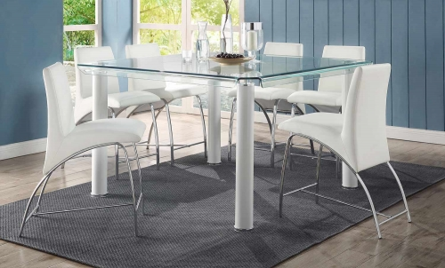 Gordie Curved Metal Shape Counter Height Dining Set - White/Clear Glass/Chrome