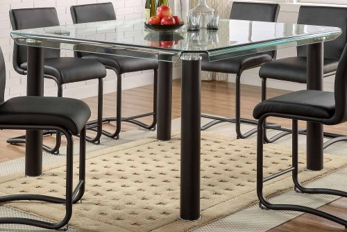 Gordie Counter Height Table - Black/Clear Glass