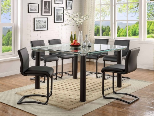 Gordie C Metal Shape Counter Height Dining Set - Black/Clear Glass