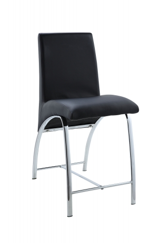Gordie Curved Metal Shape Counter Height Chair - Black Vinyl/Chrome