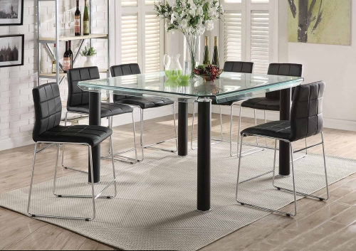 Gordie Sled Metal Shape Counter Height Dining Set - Black/Clear Glass/Chrome