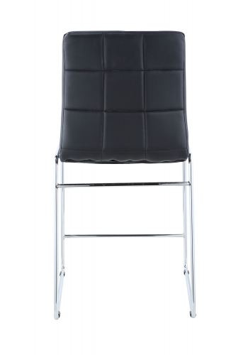 Gordie Sled Metal Shape Counter Height Chair - Black Vinyl/Chrome