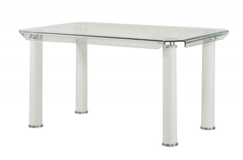 Gordie Dining Table - White/Clear Glass