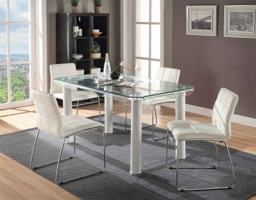 Gordie Curved Metal Shape Dining Set - White/Clear Glass/Chrome