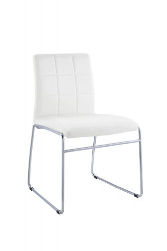 Gordie Sled Metal Shape Side Chair - White Vinyl/Chrome