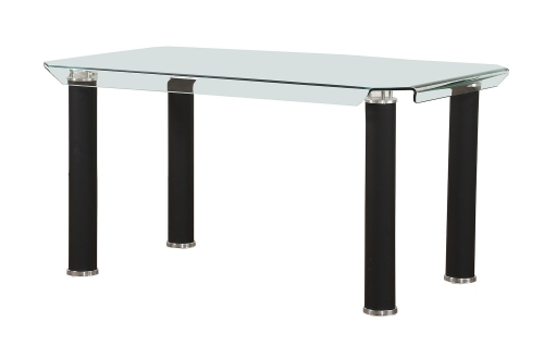 Gordie Dining Table - Black/Clear Glass