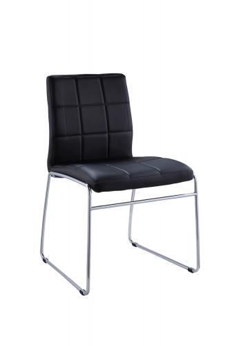 Gordie Sled Metal Shape Side Chair - Black Vinyl/Chrome
