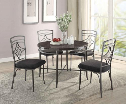 Burnett Dining Set - Faux Marble/Dark Gray