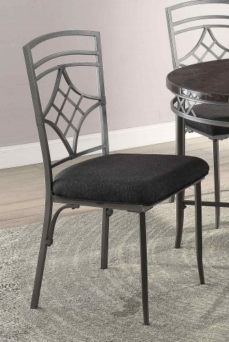Burnett Side Chair - Black Linen/Dark Gray