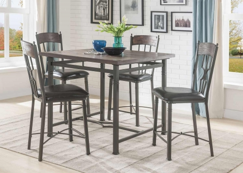 LynLee Counter Height Dining Set - Weathered Dark Oak/Dark Bronze