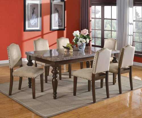 Bandele Dining Set - Emparedora Gray Marble/Walnut
