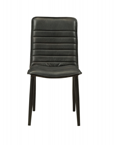 Hosmer Side Chair - Black Top Grain Leather/Antique Black