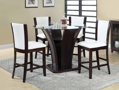 Malik Counter Height Dining Set - Espresso/Clear Glass