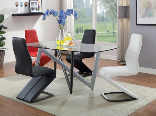Hassel Dining Set - Silver/Gunmetal/Clear Glass