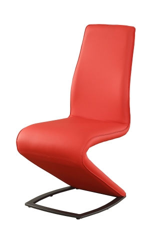 Hassel Side Chair - Red Vinyl/Gunmetal