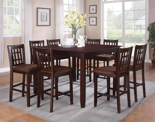 Adalia Counter Height Dining Set - Dark Chocolate/Walnut