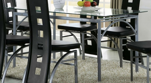 Kathie Dining Table - Silver/Clear Glass
