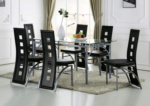 Kathie Dining Set - Black Vinyl/Silver