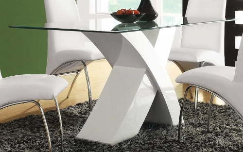 Pervis Dining Table - White/Clear Glass