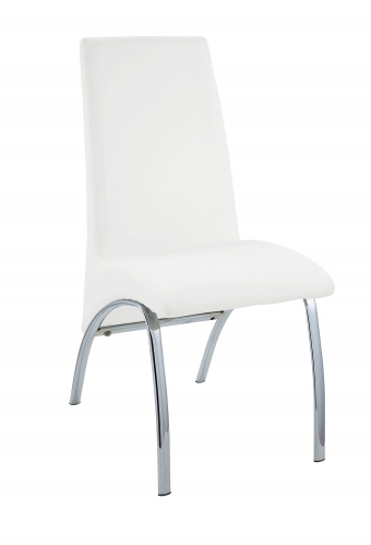 Pervis Side Chair - White Vinyl/Chrome