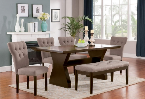 Effie Dining Set - Light Brown Linen/Walnut