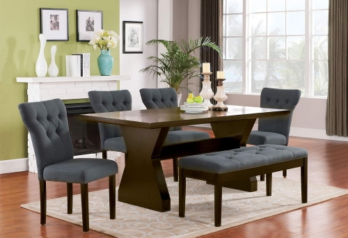 Effie Dining Set - Gray Linen/Walnut