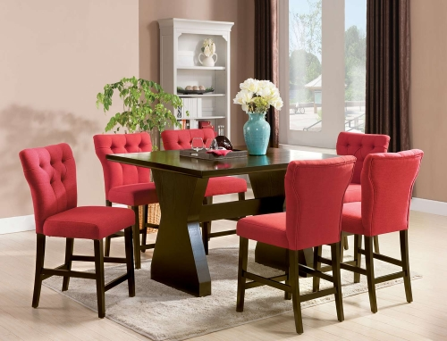 Acme Effie Counter Height Dining Set - Red Linen/Walnut