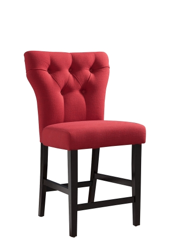 Effie Counter Height Chair - Red Linen/Walnut