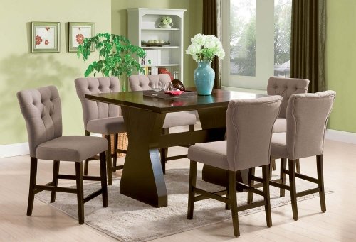 Effie Counter Height Dining Set - Light Brown Linen/Walnut