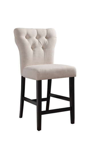 Effie Counter Height Chair - Beige Linen/Walnut